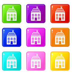 Two-storey house with chimney icons 9 set vector