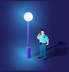 ultraviolet neon street lamp isometric people vector image