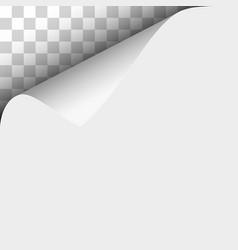 Upper left curl corner white sheet paper vector