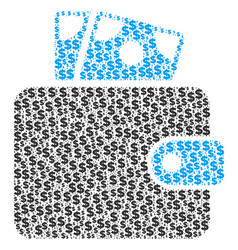 wallet collage of dollar and dots vector image