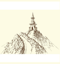 watch tower on mountain peak hand drawing vector image