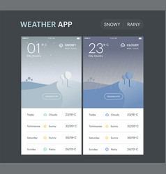weather application template rainy and snowy vector image