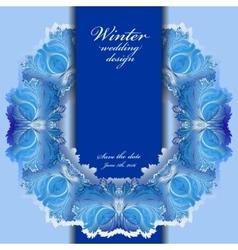 Winter frozen glass frame Blue wedding frame vector image