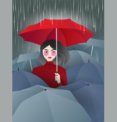woman in red with umbrellas in rain vector image