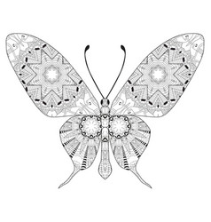 zentangle stylized butterfly hand drawn lace vector image