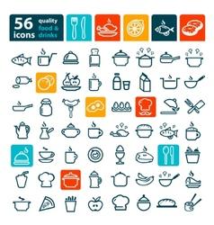 big food icons set vector image