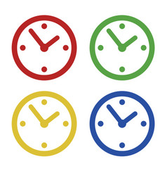 Color common clock icons set isolated on white vector