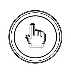 contour emblem mouse hand cursor icon vector image
