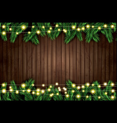 fir branch with neon lights on wooden background vector image vector image