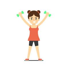 sporty girl in sportswear lifting light dumbbells vector image vector image