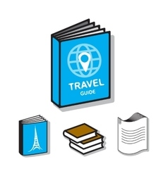 Travel guide book flat icons vector