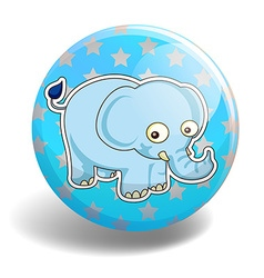 Blue elephant on the badge vector image