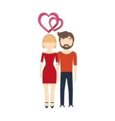 couple in love hearts romantic cheerful vector image