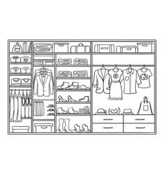 hand drawn monochrome family wardrobe concept vector image vector image
