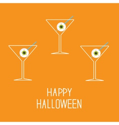 Martini set with eyeballs Happy Halloween card vector image vector image