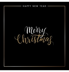 Merry Christmas gold glitter text isolated on vector image