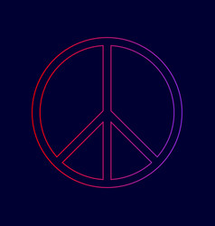 peace sign line icon with vector image