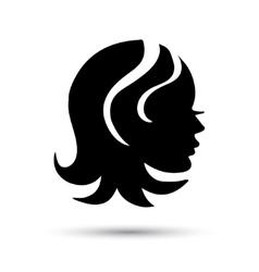 Silhouette woman head icon vector image