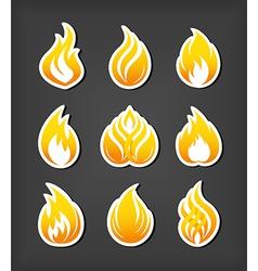 Fire paper cut icons set vector image