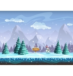Seamless cartoon background with winter landscape vector image vector image