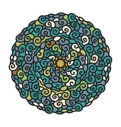 Hand drawn colorful Mandala in cold colors vector image vector image