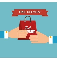 Hand holds bag gift free delivery vector