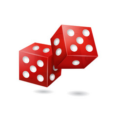 realistic 3d red casino dice vector image