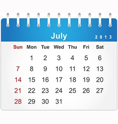 Stylish calendar page for July 2013 vector image vector image