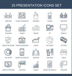 25 presentation icons vector image