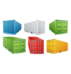 3d shipping cargo container set blue red vector image