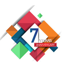 7 years anniversary design colorful square style vector