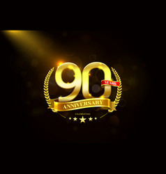 90 years anniversary with laurel wreath golden vector image