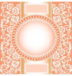 background with lace roses and a circle vector image