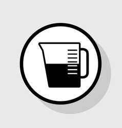 beaker sign flat black icon in white vector image