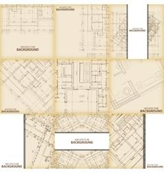 Beige architecture background set vector