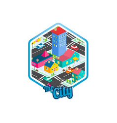 Big city isometric real estate realty cartoon vector