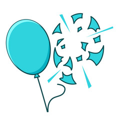 Blue balloon popped on white background vector