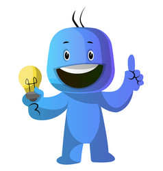 blue cartoon caracter with lightbulb on white vector image