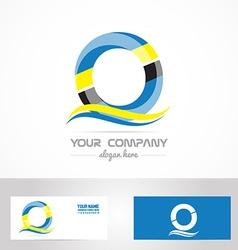 Blue yellow letter o logo vector