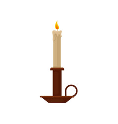 Burning candle in a candlestick vintage copper vector
