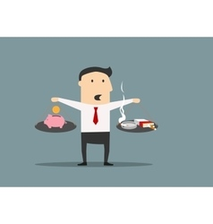 Businessman counting cost smoking vector