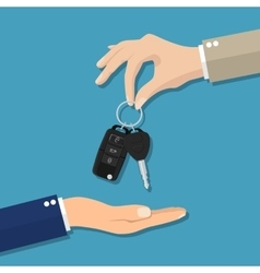 Car seller hand giving key to buyer vector image