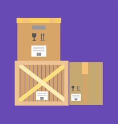 cardboard and wooden boxes vector image vector image