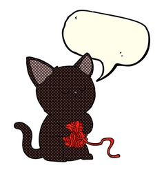 cartoon cute black cat playing with ball of yarn vector image