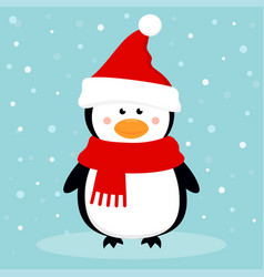 cartoon penguin on winter background vector image