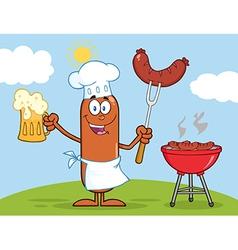 Chef Sausage Cartoon vector