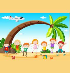 Children dancing on the beach vector
