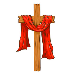 Christian wooden cross with red cloth vector