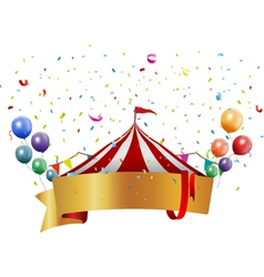 Circus background with balloon and confetti vector