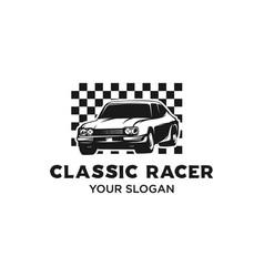 classic race car logo vector image